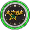 Trademark Global® Chrome Double Ring Analog Neon Wall Clock, NHL Dallas Stars