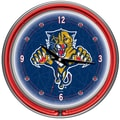 Trademark Global® Chrome Double Ring Analog Neon Wall Clock, NHL Florida Panthers