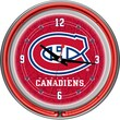 Trademark Global® Chrome Double Ring Analog Neon Wall Clock, NHL Montreal Canadiens