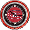 Trademark Global® Chrome Double Ring Analog Neon Wall Clock, NHL Vintage Montreal Canadiens