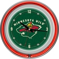 Trademark Global® Chrome Double Ring Analog Neon Wall Clock, NHL Minnesota Wild