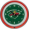 Trademark Global® Chrome Double Ring Analog Neon Wall Clock, NHL Minnesota Wild