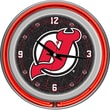 Trademark Global® Chrome Double Ring Analog Neon Wall Clock, NHL New Jersey Devils