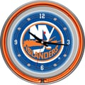 Trademark Global® Chrome Double Ring Analog Neon Wall Clock, NHL New York Islanders