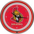 Trademark Global® Chrome Double Ring Analog Neon Wall Clock, NHL Ottawa Senators