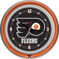 Trademark Global® Chrome Double Ring Analog Neon Wall Clock, NHL Philadelphia Flyers