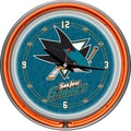 Trademark Global® Chrome Double Ring Analog Neon Wall Clock, NHL San Jose Sharks