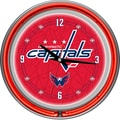 Trademark Global® Chrome Double Ring Analog Neon Wall Clock, NHL Washington Capitals