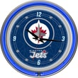 Trademark Global® Chrome Double Ring Analog Neon Wall Clock, NHL Winnipeg Jets