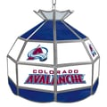 Trademark Global® 16in. Stained Glass Tiffany Lamp, NHL Colorado Avalanche