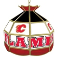 Trademark Global® 16in. Stained Glass Tiffany Lamp, NHL Calgary Flames