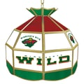 Trademark Global® 16in. Stained Glass Tiffany Lamp, NHL Minnesota Wild