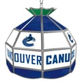 Trademark Global® 16in. Stained Glass Tiffany Lamp, NHL Vancouver Canucks