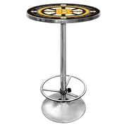"Trademark Global® 27.37"" Solid Wood/Chrome Pub Table, Black, NHL® Vintage Boston Bruins"