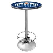Trademark Global® 27.37 Solid Wood/Chrome Pub Table, Blue, NHL® Edmonton Oilers