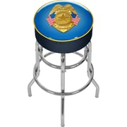 Trademark Global® Vinyl Padded Swivel Bar Stool, Blue, Police Officer