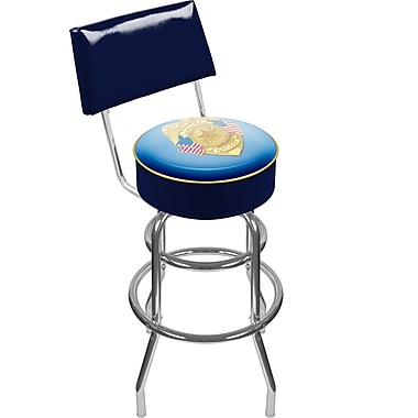 Trademark Global® Vinyl Padded Swivel Bar Stool With Back, Blue, Police Officer