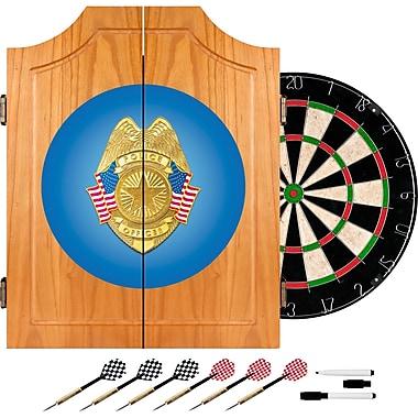 Trademark Global® Solid Pine Dart Cabinet Set, Police Officer