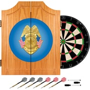 Trademark Global® Solid Pine Dart Cabinet Set, Police Officer