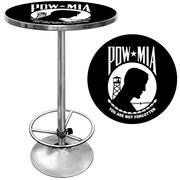 "Trademark Global® 28"" Solid Wood/Chrome Pub Table, Black, POW"