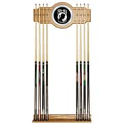 Trademark Global® Wood and Glass Billiard Cue Rack With Mirror, POW