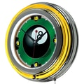 Trademark Global® Chrome Double Ring Analog Neon Wall Clock, Rack'em 8 Ball