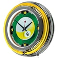 Trademark Global® Chrome Double Ring Analog Neon Wall Clock, Rack'em 9 Ball