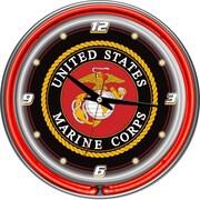 Trademark Global® Chrome Double Ring Analog Neon Wall Clock, United States Marine Corps