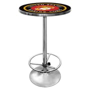 "Trademark Global® 27.37"" Solid Wood/Chrome Pub Table, Black, United States Marine Corps"
