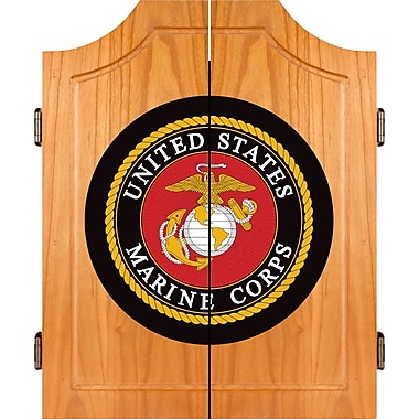 Trademark Global® Solid Pine Dart Cabinet Set, United States Marine Corps