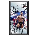 Trademark Global® 15in. x 27in. Black Wood Framed Mirror, WWE The Rock Framed Logo