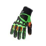 Ergodyne ProFlex® 925F(X) Dorsal Impact-Reducing Gloves, Black/Green/Orange, X-Large