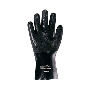 Ansell® Petroflex® Interlock Knit Lining PVC Chemical Resistant Gloves, Black, Large