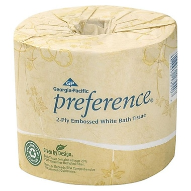 Georgia-Pacific Preference 2 Ply Embossed Bathroom Tissue, White, 40/Pack