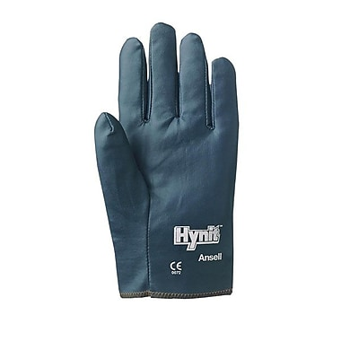 Ansell® Hynit® Interlock Knit Lining Nitrile/Impregnated Fabric Multi-Purpose Gloves, Blue, Medium