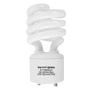 Earthbulb® 18 W 2700K GU24 Twist Lock Spiral Compact Fluorescent Light Bulb, Soft White, 12/Pack