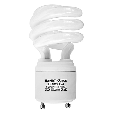 Earthbulb® 13 W 2700K GU24 Twist Lock Spiral Compact Florescent Light Bulb, Soft White, 12/Pack