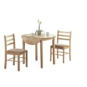 "Monarch 3 Piece Padded Dining Set With a 36""Dia Drop Leaf Table, Natural"
