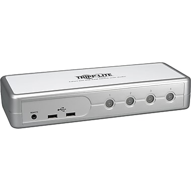 Tripp Lite 4 Port USB/DVI-I Compact KVM Switch, Silver