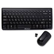 Verbatim 97472 USB 2.0 Wireless Optical Mini Slim Desktop Keyboard and Mouse, Black