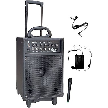 Pyle® PWMA370 300 W Dual Channel Wireless Rechargeable Portable PA System With Handheld Mic