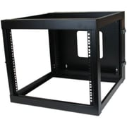 Startech.com® RK819WALLOH 8U Hinged Open Frame Wall Mount Server Rack, Black