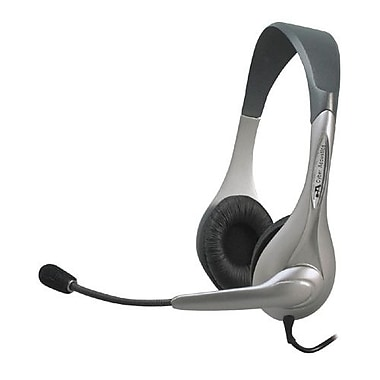 Cyber Acoustics AC-202B Stereo Speech Headset With Boom Microphone, Silver