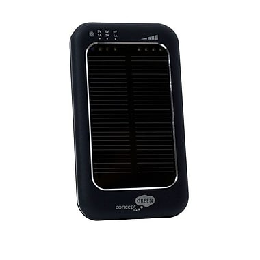 Concept Green™ 3600mAh Solar Assist Portable Battery Charger, Black