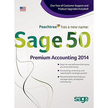 Sage 50 Premium Accounting 2014 Software With1 Year Sage Business Care Silver, 3 User