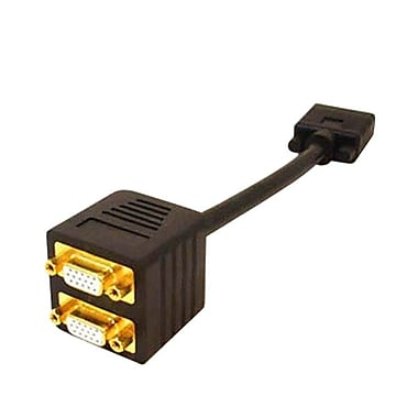 AddOn® 2-Port HD-15 Male/Female VGAVideo Splitter Cable, Black