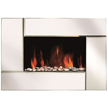 Modern Homes Wall Mount Fireplace with Bevel Edge Mirror Glass Front