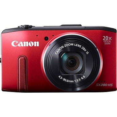 Canon® PowerShot SX280 12.1 MP HS Digital Compact Camera, Red