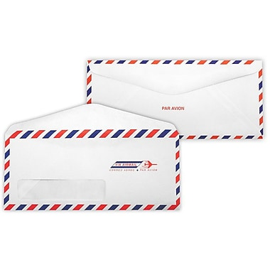 LUX Moistenable Glue - #10 Window Envelopes (4 1/8 x 9 1/2) - 250/Box - Airmail (41779-250)