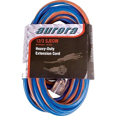 Aurora Tools All Weather TPE-Rubber Extension Cord with Light Indicator, Extra Heavy-Duty, 50'